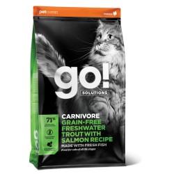 Go! Solutions carnivore begrūdis pašaras suaugusioms katėms ir kačiukams su gėlavandeniu upėtakiu ir lašiša, 7,3 kg