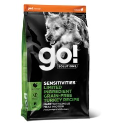 Go! Solutions sensitivities begrūdis pašaras jautriems šuniukams ir suaugusiems šunims su kalakutiena, 10 kg
