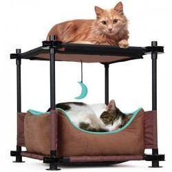 Surenkama dviaukštė lova katėms