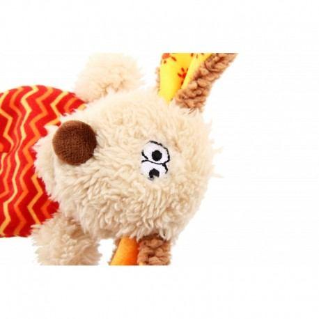 Žaislas šunims GiGwi Plush Friendz Dog pliušinis šuo, pilkas/raudonas