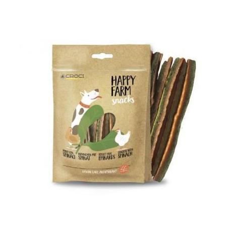 Happy Farm skanėstai šunims su vištiena ir špinatais, 80 g