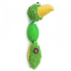 Žaislas šunims pliušinė žalia papūga su guminiu kamuoliu, 30 cm