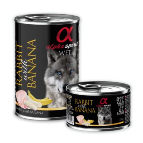 Alpha Spirit konservai šunims su triušiena ir bananais, 400 g